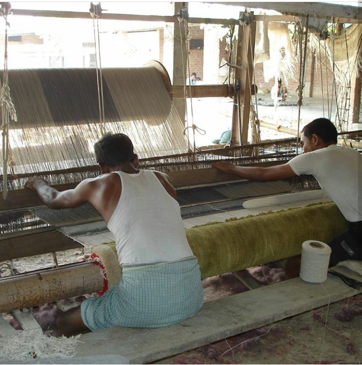 Hand loom carpets work sation